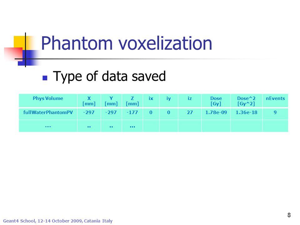 Phantom voxelization Type of data saved .... .. ... Phys Volume X [mm]